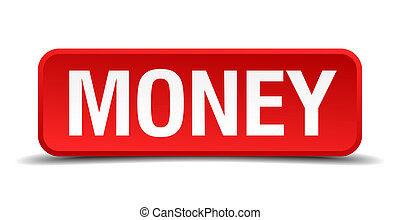 Money red 3d square button isolated on white
