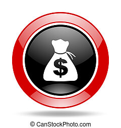 money red and black web glossy round icon
