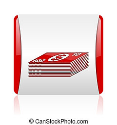 money red and white square web glossy icon