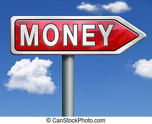 money red road sign arrow