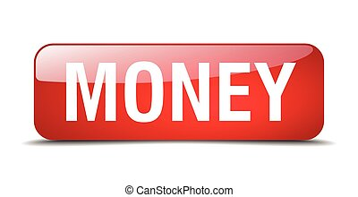 money red square 3d realistic isolated web button