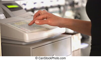 Money Register - Hand operating money register, drawer opens...