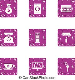 Money repair icons set, grunge style