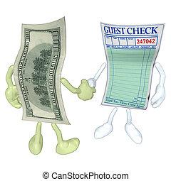 Money Restaurant Guest Check Handsh