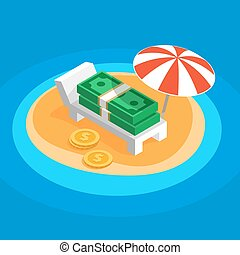 Money resting on the sunny beach