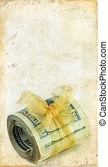 Money Roll on a Grunge Background