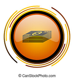 money round design orange glossy web icon