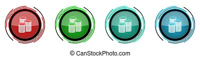 Money round glossy vector icons, business and finance set of buttons for webdesign, internet and mobile phone applications in four colors options isolated on white background