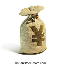 Money sack full of yens - yuan with yen - yuan sign 3d...