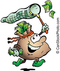 Money Sack Hunting Cash - Hand-drawn Vector illustration of...