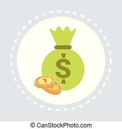money sack with dollar coins financial savings concept flat isolated