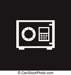 Money safe icon. Vector illustration in flat style on black background.