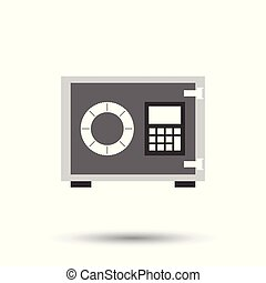 Money safe icon. Vector illustration in flat style on isolated background.