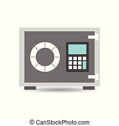 Money safe icon. Vector illustration in flat style on white background.