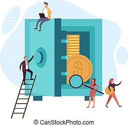 Money safe protection concept. Vector graphic design flat cartoon illustration