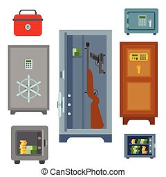 Money safe steel vault door finance business concept safety business box cash secure protection deposit vector illustration.