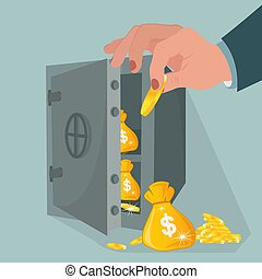 Money safety, safe with savings, vector illustration