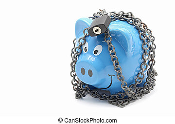 Piggy bank padlocked with chains and padlock on white background for Money Insurance Concept