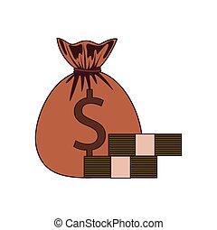 money saving and money bag on white background
