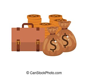 money saving and money bag on white background