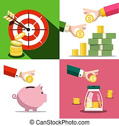 Money Saving Concept. Vector Business Design with Money Pig and Coins