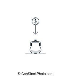 Different income, cash back. Bank savings account, deposit money, profit growth concept, linear illustration