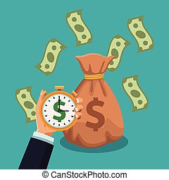 Money savings and investment - Hand holding money timer and...