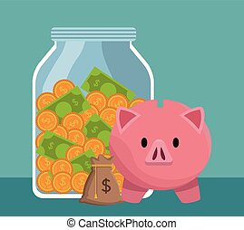Money savings and investment - Money savings bottle with...