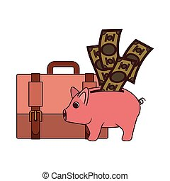 money savings and pig on white background