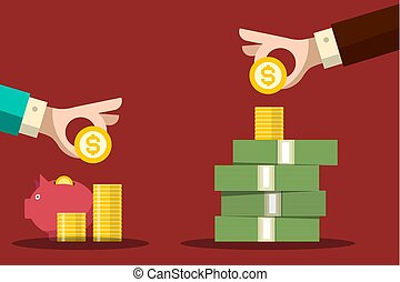 Money Savings Concept. Human Hands with Dollar Coins and Piggy Bank. Vector Flat Design Background.