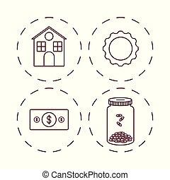 Money savings design - money savings icon set over white...