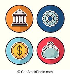 Money savings design - money savings related icons over...