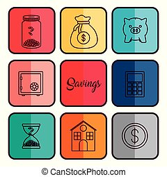 Money savings design - money savings related icons over...