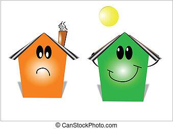 money savings energy house - cartoon style illustration of...