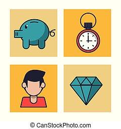 Money savings icons vector illustration graphic design