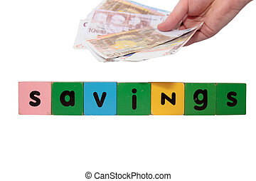 money savings in toy letters