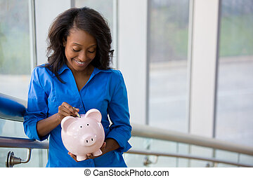 Money savings - Closeup portrait joyful, smiling...