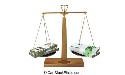 Money scales, dollar wins