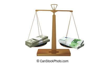 Money scales, euro wins