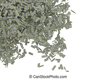 Money scattering. US dollar bundles falling