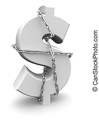 Dollar sign tied by chain money and secure concept 3d illustration