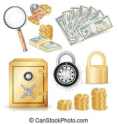 Money Secure Concept Vector. Gold Metal Coins, Money Banknotes Stacks, Encryption Padlock, Safe, Realistic Magnifying Glass. Commercial Investment Illustration Isolated On White Background