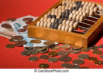 counting frame - money series: old counting frame, coins and...