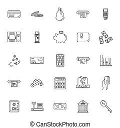 Money set icon, outline style