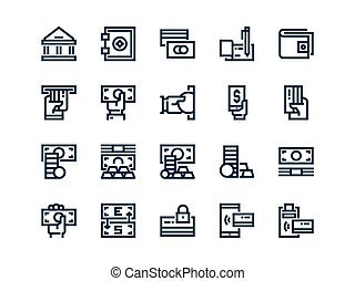 Money. Set of outline vector icons.