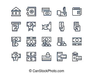 Money. Set of outline vector icons