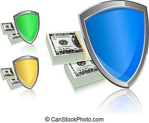 money shield isolated icon set on white background. security and protection concept