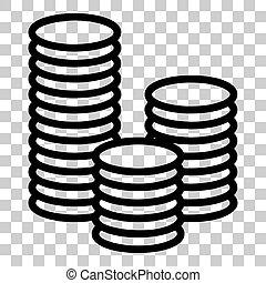 Money sign illustration. Flat style black icon on transparent background.