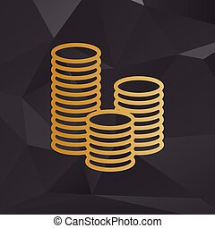 Money sign illustration. Golden style on background with polygons.