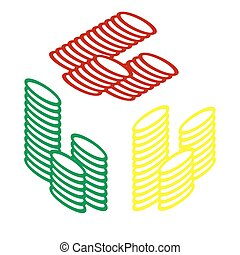 Money sign illustration. Isometric style of red, green and yellow icon.